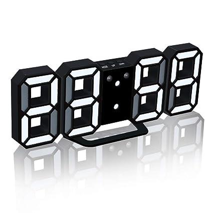 KKmoon 3D LED Reloj digital con modo nocturno Ajuste el brillo Mesa electrónica Reloj despertador Pared