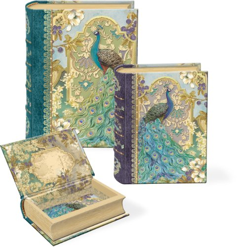 Punch Studio Peacock in the Garden Small Nesting Book Boxes -- Set of 3 (Nesting Book Boxes)