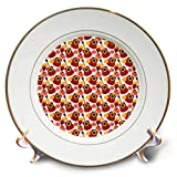 3dRose Anne Marie Baugh - Patterns - Cute Red Guitars and Pink Flowers On A White Background Pattern - 8 inch Porcelain Plate (cp_295479_1)
