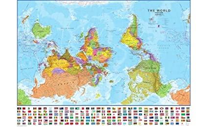 Amazon extra large upside down world wall map political extra large upside down world wall map political with flags laminated gumiabroncs Image collections