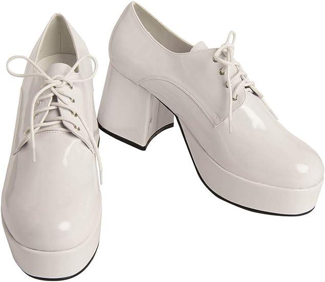 Mens White Pimp Platform Shoes