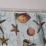 Eforcurtain Ocean Style Fabric Shower Curtains with Fish Stars Print, Multicolor Mildew Resistant Heavy Duty Bathroom Curtain Waterproof for Kids, Standard Size 72 by 72 Inch