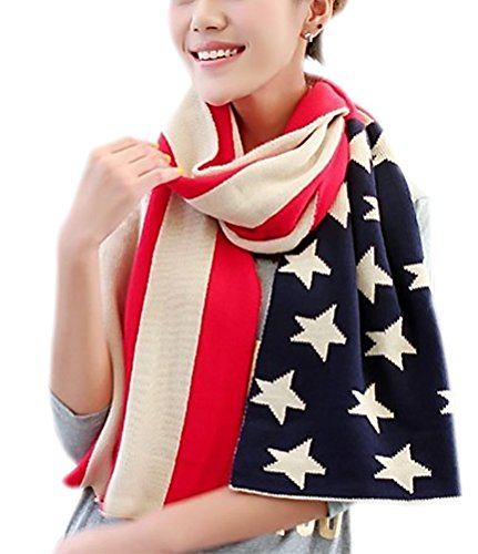(IvyFlair Unisex Winter Warm USA American Flag Print Soft Knit Scarf)