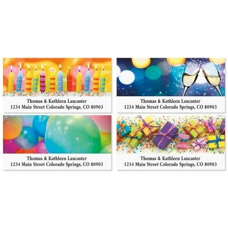 Celebrations Birthday Return Address Labels (4 Designs) - Set of 144 1-1/8 x 2-1/4 Self-Adhesive, Flat-Sheet labels 1st Birthday Address Labels