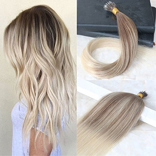 yage Ombre Color #8 Light Brown to #60 Platinum Blonde Nano Ring Hair Extensions Human Hair DIY Nano Tip Hair Extensions 1g Per Strand 50g Per Package (Brown Platinum Ring)
