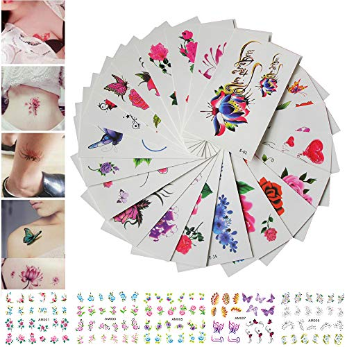 (30 Sheets Temporary Tattoos Stickers Waterproof Body Art Tattoo Sexy Rose Flower Lotus Cherry Blossoms Butterflies for Women Teens Girls Kids 5 Sheets Nail Stickers (LIFE19))