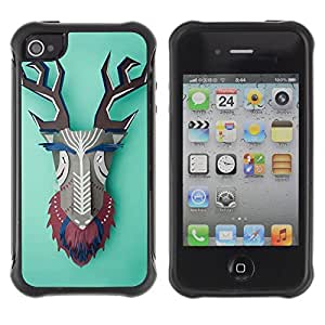 Hybrid Anti-Shock Defend Case for Apple iPhone 4 4S / Colorful Abstract Animal
