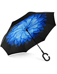 Golf Umbrella 62 Inch Oversize, SHINE HAI Inverted Umbrella, Double Canopy Vented Windproof Waterproof Sun Protection Stick Umbrellas, Black / Blue