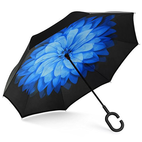 SHINE HAI Inverted Umbrella, Double Layer Windproof Reverse Umbrella, Self-Standing C-Shaped Handle Big Straight Umbrella, UV Protection, Inside-out Folding for Car 65 Double Handle