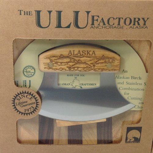 Ulu Factory Alaska Ulu Birch Walnut Stripe Wood Chopping Bowl-board School of Salmon Fish Handle
