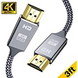 4K HDMI Cable 3 ft -Capshi High Speed 18Gbps HDMI 2.0 Cable - 4K HDR, 3D, 2160P, 1080P, Ethernet - 28AWG Braided HDMI Cord - Audio Return(ARC) Compatible UHD TV, Blu-ray, Xbox, PS4/3, PC, Apple TV