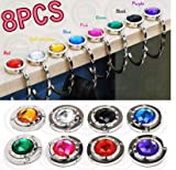 Hooks doopootoo 8pcs Purse Hooks Crystal Folding Handbag Hanger Holder Womens Bag Storage