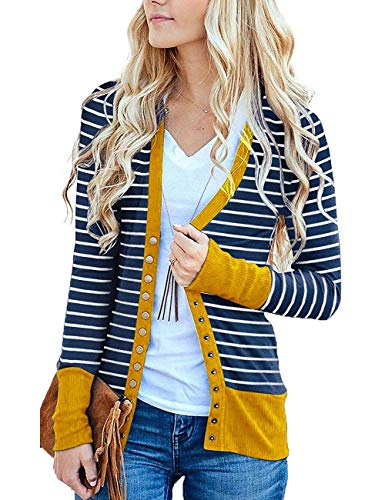 Cowear Women's S-3XL Solid Button Front Knitwears Long Sleeve Casual Cardigans Stripe Mustard 3XL