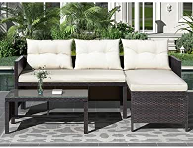O'lemon Outdoor Patio Furniture Sets, 3 Pieces Wicker Rattan Sectional Sofa with Cushions Outdoor Garden Furniture Sets