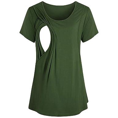 0f34519b428 Oksale Baby Girl's Nursing Breastfeeding Pregnant Shirt Top Blouse Tee Shirt  XX-Large Green: Amazon.in: Clothing & Accessories