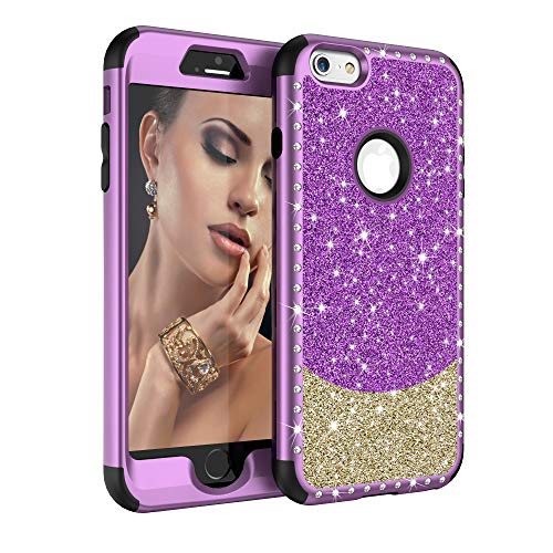 Diamond Case for iPhone 6, iPhone 6s Bling 3 in 1 Glitter Cute Phone Case for Women with Sparkle Rhinestone Bumper Heavy Duty Shockproof Defender Cover for Apple iPhone 6/6s 4.7 Inch (Purple Gold)
