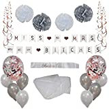Bachelorette Party Decorations Rose Gold/Silver, Bridal Shower Supplies Set - Bride to Be Banner, Sash with Veil and Balloons Kit by Kolektion Co