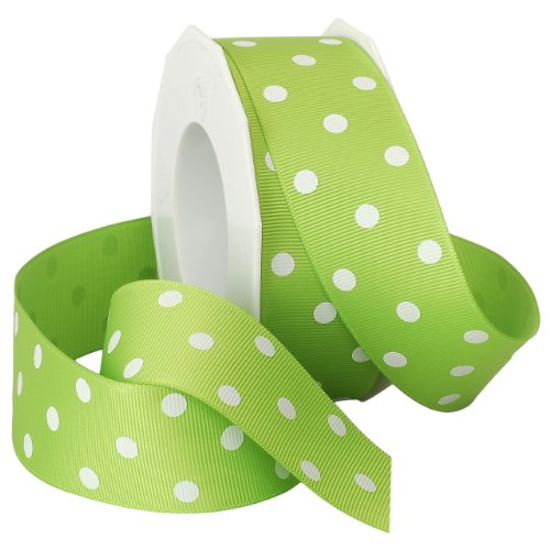 Morex Grosgrain Dot Ribbon, 1-1/2-Inch by 20-Yard Spool, Apple Green with White Dots