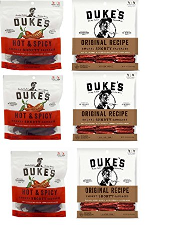 6 pack Duke's 5oz Smoked Shorty Sausage Sticks - 3 Original, 3 Hot & Spicy (Variety Bundle of 6)
