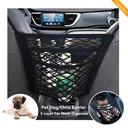 FALCALE Upgraded 3-Layer Pet Barrier Dog Car Net Barrier with Auto Safety Mesh Organizer Baby Stretchable Storage Bag Universal for Cars, SUVs -Easy Install,Safer to Drive with Children and Pets from FALCALE