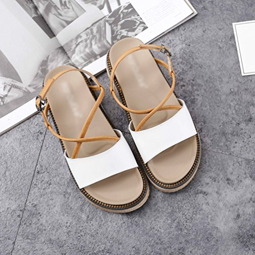 LINNUO Womens Sandals Wedge Heel Platform Slingback Flatform Thick Sole Faux Leather Roman Summer Shoes White xYXUd