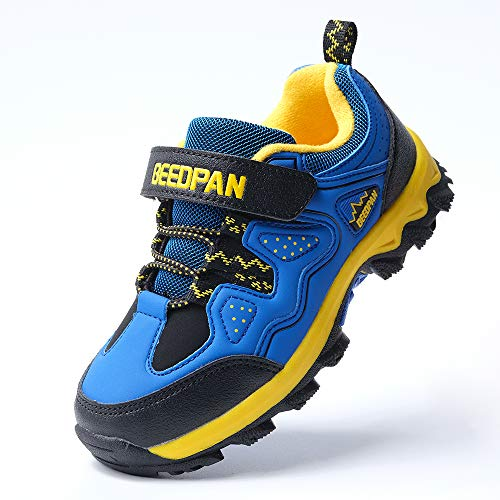 Image of hot angcl Kid Hiking Shoes Breathable Lightweight Slip Resistance Outdoor Walking Sports Shoes Fashion Casual Sneakers Boys Girls (2 M US Little Kid, deep Blue/Yellow)