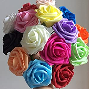 50 pcs Artificial Flowers Foam Roses for Bridal Bouquets Wedding Centerpieces Kissing Balls 20