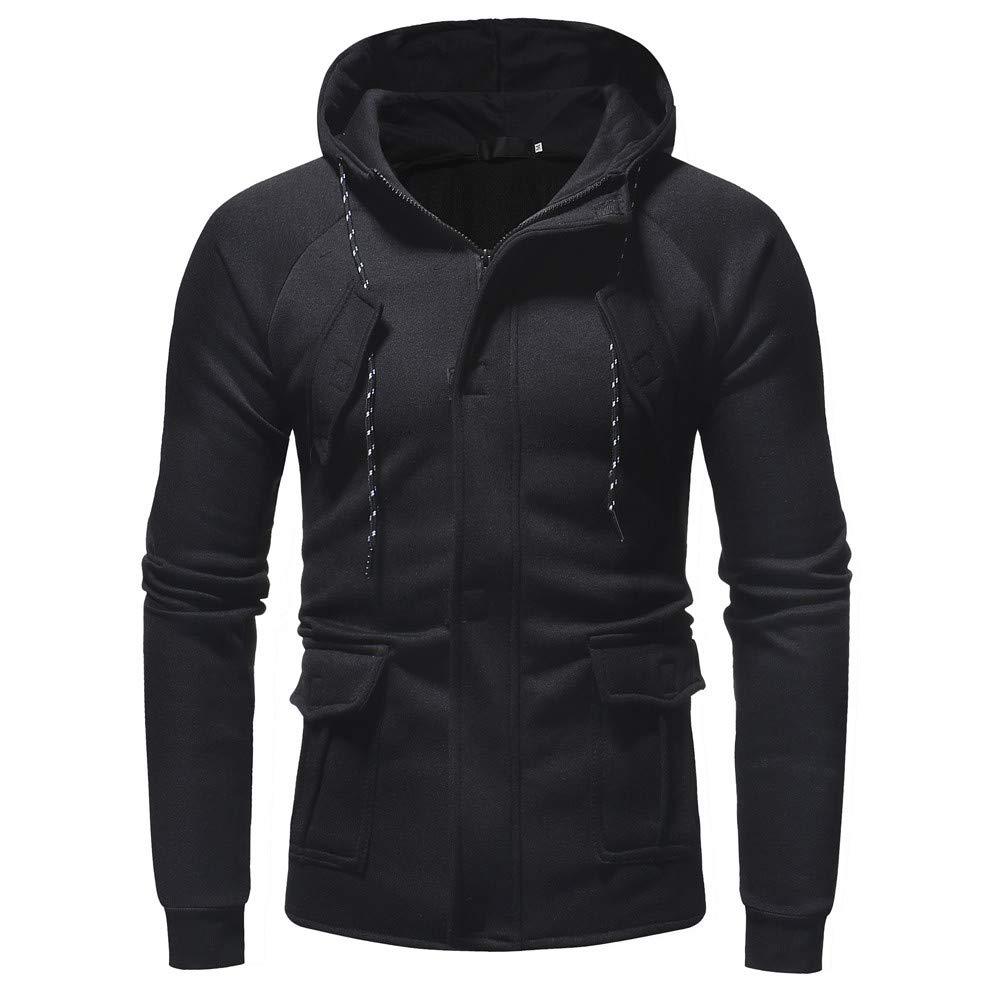 PASATO Men's Autumn Winter Casual Long Sleeve Zipper Pocket Work Hooded Top Coat Blouse T-Shirt Pure Color clothes(Black, M)