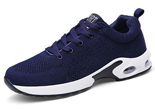 No.66 Stad Kvinna Man Luftkudde Flyknit Löparskor Par Sneakers Blå