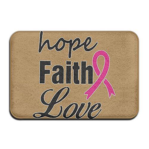 EWD8EQ Hope Faith Love Non-slip Indoor/Outdoor Door Mat Rug For Health And Wellness Toilet Bathroom Doormat 23.6''x 15.7'' by EWD8EQ