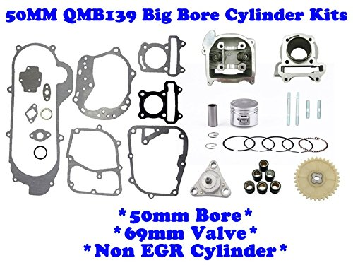- ChinesePartsPro88807 50mm 100cc Big Bore Kits 139QMB 50cc Engines 69mm Valve