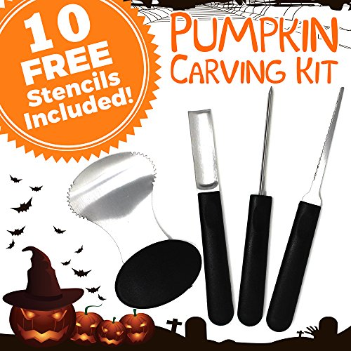 Vita for Home 4-Piece Reusable Stainless Steel Pumpkin Carving Tools Kit with 10 Halloween Carving Pattern Stencils