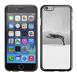 FECELL CITY // Duro Aluminio Pegatina PC Caso decorativo Funda Carcasa de Protección para Apple Iphone 6 Plus 5.5 // Black White Tree Wind Clean