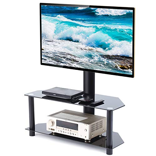 Universal Swivel Corner Floor TV Stand with Mount and Bracket for 27 32 37 42 47 50 55 inch Plasma LCD LED Flat or Curved Screen TVs,Weight Capacity 110lbs