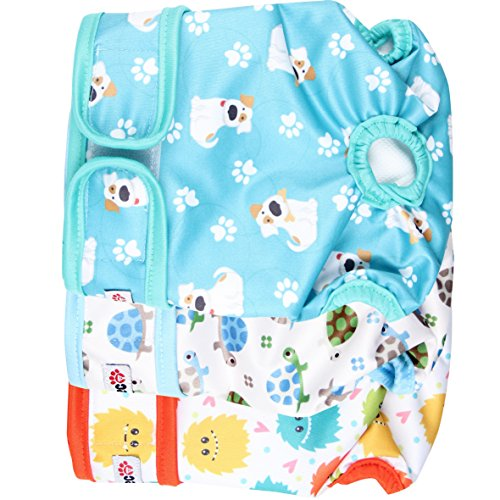 wegreeco Luxury Washable Reusable Dog Diapers (Stylish Pattern) - Durable Female Dog Diapers, Doggie Diapers, 3 Pack (Inspiring,Small)