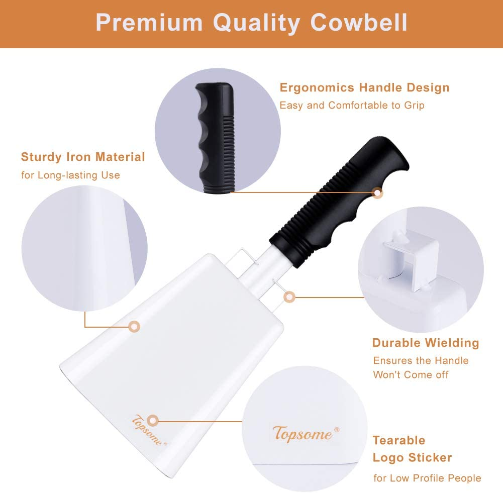 Large and Small Cow Bells Set School Bell and Chimes Percussion Musical Instruments Cowbell with Handle 10 Inch Steel Cheering Bell and Loud Noise Makers for Sporting Events Football Games White