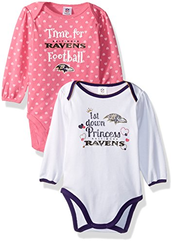 NFL Baltimore Ravens Baby-Girls 2-Pack Long-Sleeve Bodysuits, Ravens, 0-3 Months