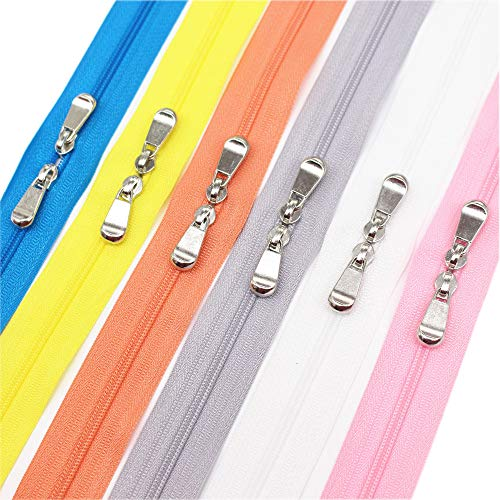 - Meillia 6PCS 60 Inch #3 Double Slider Zippers Closed End Nylon Coil Zippers for Sewing, Crafts, Bags, Pillowcases, Bed Sacks, Decorating (60