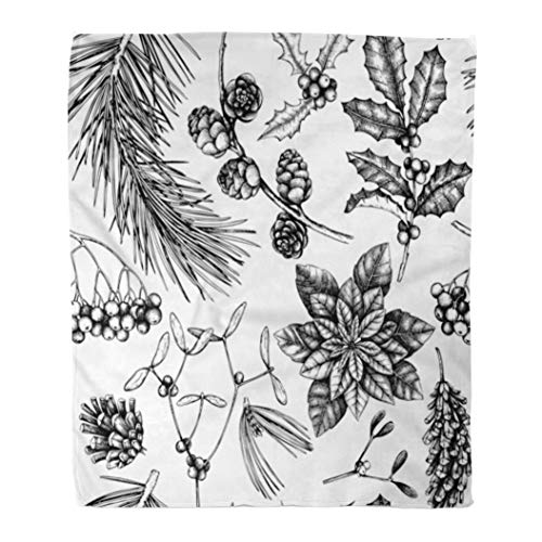 Emvency Decorative Throw Blanket 50 x 60 Inches Winter Trees Sketch Traditional Christmas Plants and Flowers Vintage Holiday Warm Flannel Soft Blanket for Couch Sofa Bed