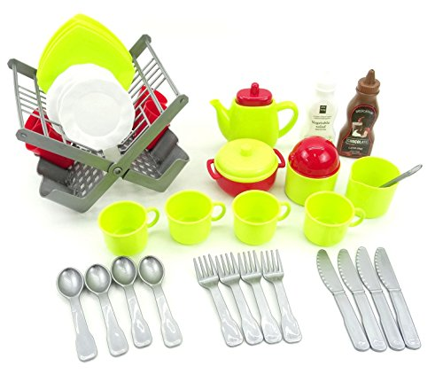 LP Toys 40 Piece Pretend and Play Tea Set - Teapot, Teacups, Plates, Saucers, and Accessories for Kids - Made from Kid-Friendly Plastic, Easy to Clean