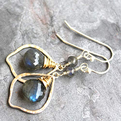 Sterling Silver Gold Filled Labradorite Earrings Two Tone Mixed Metals Gray Gemstone Hoops