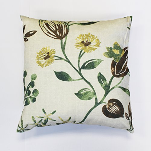 Bestfit HF Collection Cotton Canvas Throw Pillow Case Decorative Square Cushion Cover Flower Pattern 18 x 18 Inch (daisy)