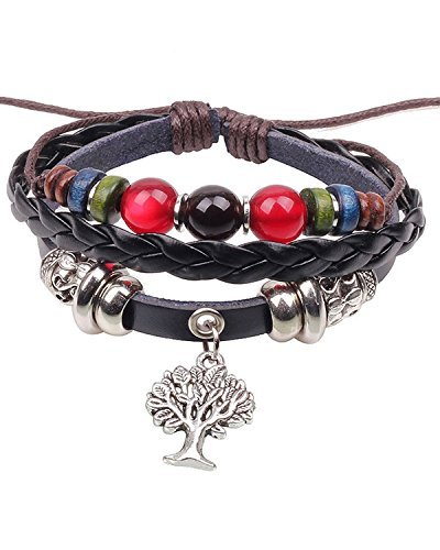 Young & Forever Men's D'Vine Wish Tree Of Life Black Leather Braided Surfer Wrap Bracelet by Young & Forever