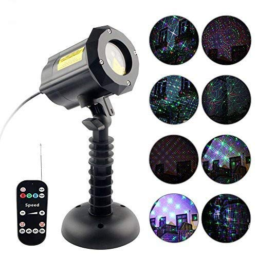 Imbeang 8 Pattern Garden Laser Light, Moving Red,Green and Blue Light with RF Remote Control and Security Lock Waterproof Outdoor Laser Christmas Light Projector for Party,House,Holiday,Halloween by Imbeang