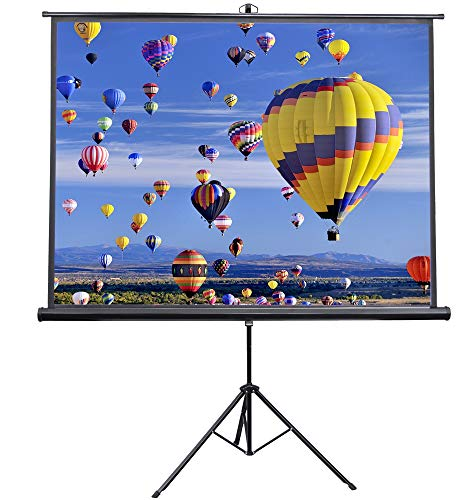 VIVO 84 inch Portable Indoor Outdoor Projector Screen, 84 Inch Diagonal Projection HD 4:3 Projection Pull Up Foldable Stand Tripod (PS-T-084) ()