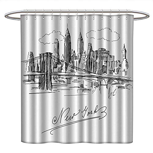 - Anshesix NYC Decor Collectionfunny Shower curtainNew York Contemporary Business Metropolis Corporate Town monochromic SketchPlastic Shower curtainBlack White