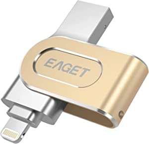 USB Flash Drive for iPhone 128GB EAGET MFi Certified USB Memory Stick Compatible with iPhone, iPad,