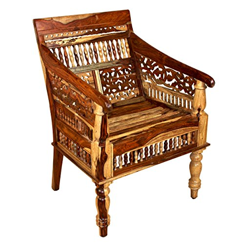 Porter Designs ISA-1108N Taos Solid Sheesham Wood Hand Carved Accent Chair Single-Seat Natural