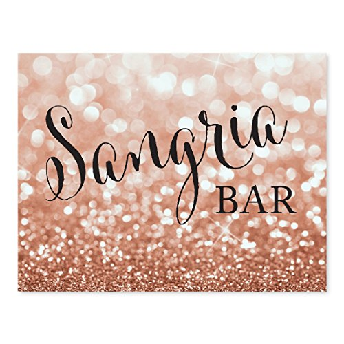 Andaz Press Wedding Party Signs, Glitzy Rose Gold Glitter, 8.5x11-inch, Sangria Bar Sign, 1-Pack, Bokeh Colored Party -