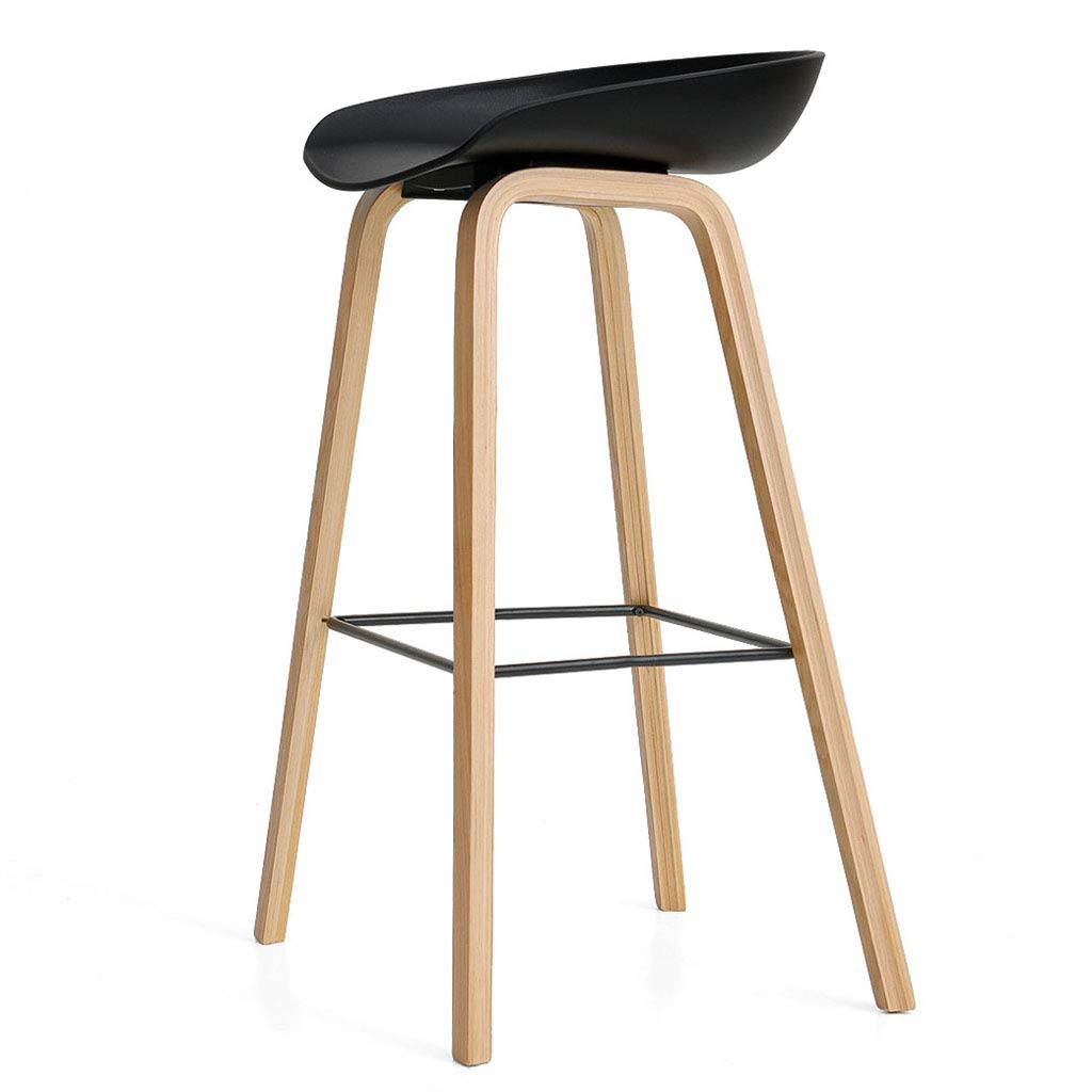 Black Solid Wood Bar Stool, Home Leisure High Stool, Suitable for Dining Room Bar, Seating Pp Material, Ergonomic, 52  42  82cm